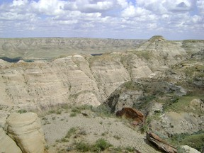 A scenic shot of the badlands around Milk River.