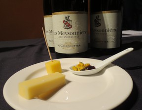 The M. Chapoutier Les Meysonniers Syrah from Crozes-Hermitage was paired with three cheese. You can see the braille on the label.