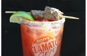 A Caesar made by Clint Pattemore, who has written a Caesars recipe book featuring more than 50 creative twists on the invented-in-Calgary cocktail.