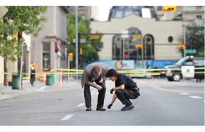 Calgary City Police are investigating after a woman in her mid twenties was shot and killed in the 100 block of 11th Ave. S.W. at 3 a.m. on Saturday August 23, 2014.