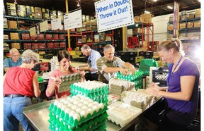 Volunteers Don Watson, from left, Marie Mullin, Carolyn Renouf, Art Dobson, Gilbert Cordell and Margaret Bon work on the delicate task of repackaging eggs into cardboard containers at the Calgary Inter-Faith Food Bank.