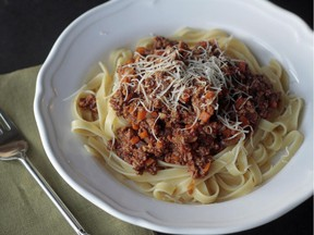 Pasta Bolognese made from a recipe in The Kitchn Cookbook.