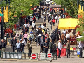Downtown workers packed onto Stephen Avenue Mall on June 19, 2012 over the lunch hour.