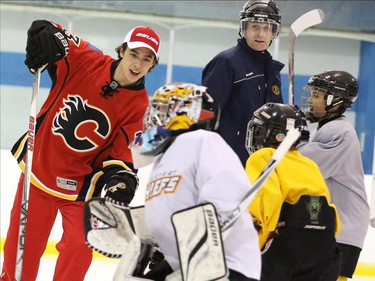Calgary Flames star rookie Johnny Gaudreau practised with the Blackfoot Chiefs Atom 5 team after surprising them in their dressing room at the Acadia Recreation Centre Friday night. The event sponsored by Bauer also included all the team receiving Bauer hockey sticks.
