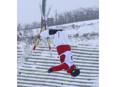 Sho Endo of Japan competes for a third place finish at the men's Freestyle moguls skiing 2015 World Cup at Canada Olympic Park in Calgary, on January 3, 2015.