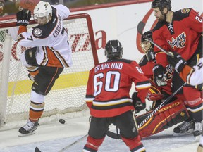 The Flames watch as Anaheim Ducks' Andrew Cogliano pop the puck in the net then knocks it out of place during game action at the Saddledome in Calgary, on February 20, 2015.