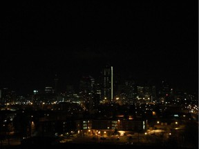 Calgary's skyline during Earth Hour on March 23, 2013.