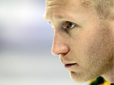 Northern Ontario skip Brad Jacobs keeps his eye on his final shot of the game against New Brunswick during the Wednesday morning draw of the Tim Horton's Brier at the Scotiabank Saddledome on March 4, 2015.