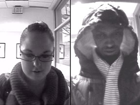 RCMP released these surveillance camera images of  two suspects wanted in connection with large-scale frauds and a slew of other crimes.