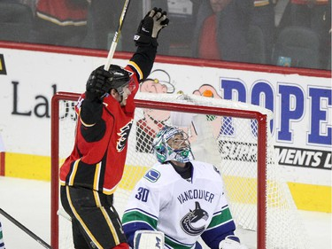 Calgary Flames Sean Monahan celebrates his goal on the Vancouver Canucks during Game 6 on Saturday night.