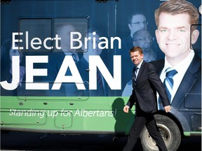 """The Wildrose can't afford a bus this time and has downsized to a recreational vehicle — one with a paint job featuring Leader Brian Jean and the slogan """"Standing Up for Albertans."""""""