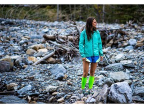 Michelle Landry in Kananaskis during the fall of 2014. (photo credit Ian Holmes) for outside story by Felicia Zuniga