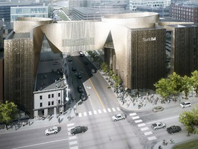 A rendering of the new home of the National Music Centre in Calgary's East Village, which is scheduled to open spring 2016. On Thursday, a 12-year, $10-million partnership agreement was announced with Bell Canada to name the new facility Studio Bell.