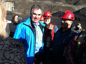 Premier Jim Prentice was in Grande Cache on Wednesday visiting the coal mine where he worked as a teen.
