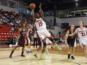 Mariam Sylla of McGill drives the hoop in a CIS game against Saint Mary's earlier this season.