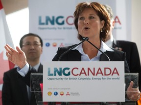 British Columbia Premier Christy Clark speaks at an announcement about a joint venture agreement with Shell Canada Energy, PetroChina Corporation, Korea Gas Corporation and Mitsubishi Corporation to develop a proposed liquefied natural gas (LNG) export project on April 30, 2014.