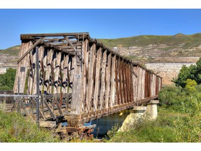 This photo of the East Coulee truss bridge at the Atlas Mine was taken by Bill Church for Heritage Canada The National Trust, a non-profit organization.