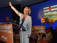 NDP Premier Elect Rachel Notley speaking to supporters at the NDP election night headquarters in the Westin Hotel in Edmonton, May 5, 2015.
