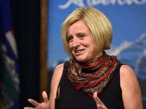 Premier Rachel Notley at a news conference about the first  session wrapping up at the Legislature in Edmonton.