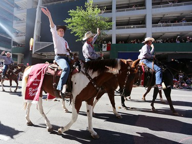Premier Rachel Notley rides during the Calgary Stampede parade on July 3.