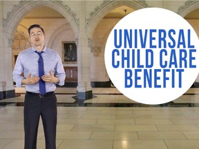 Employment Minister Pierre Poilievre announces the extra money for kids.