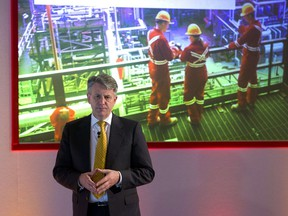 Royal Dutch Shell chief executive Ben Van Beurden addresses a press conference in London Thursday.