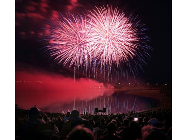 The sky to the east is illuminated with fireworks by team China at GlobalFest Saturday night.