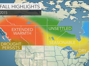 Accuweather's fall forecast map for Canada.