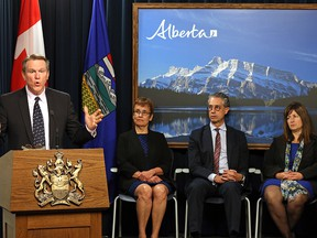 The province's royalty review panel (left to right) Dave Mowat, Annette Trimbee, Peter Tertzakian and Leona Hanson.