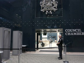 Metal detectors outside council chambers at City Hall in Calgary on Sept. 14, 2015.