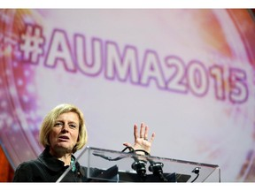 Alberta Premier Rachel Notley speaks during AUMA at the Telus Convention Centre in Calgary On september 24, 2015.