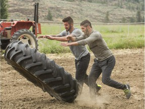 CTV Brothers Gino, left, and Jesse power their way through the Brawn portion of the Detour in Oliver, B.C., on this week's episode of The Amazing Race Canada.