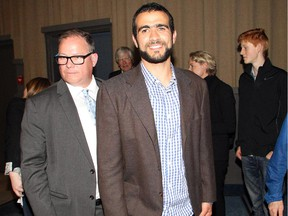 Omar Khadr leaves the Globe Theatre after a question and answer session with the audience following the Calgary Film Festival screening of the film Guantanamo's Child, The Untold Story of Omar Khadr, Friday evening September 25, 2015 at SAIT.