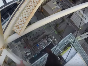 A still from Joseph McGuire's video from the top of a Calgary crane.