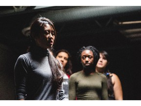 The cast of Chromatic Theatre's production of Medea: Artists L to R: Chantelle Han, Jenna Rodgers, Carly McKee, Makambe K. Simamba, Ali DeRegt. Photo courtesy Mike Tan.