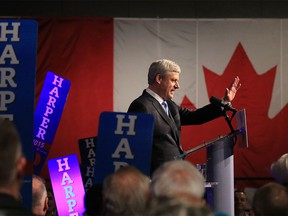 Prime Minister Stephen Harper concedes defeat at Conservative headquarters, Monday night, Oct. 19, 2015.