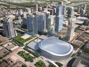 The new arena district in Edmonton is seen in this handout artist rendering. The owner of the Edmonton Oilers says construction and leasing in what will be the city's new arena district is making it one of the top developments in North America. THE CANADIAN PRESS/ HO, Katz Group  stock photo STK_