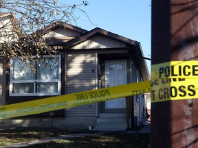 Calgary police investigate a suspicious death in the Whitehorn community in Calgary on Nov. 4, 2015.