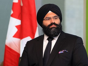 Manmeet Bhullar at an announcement at Bow Valley College in Calgary on April 24, 2014.