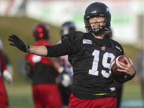 Calgary Stampeders quarterback Bo Levi Mitchell runs out a play during practice at McMahon Stadium in Calgary, on October 29, 2015.