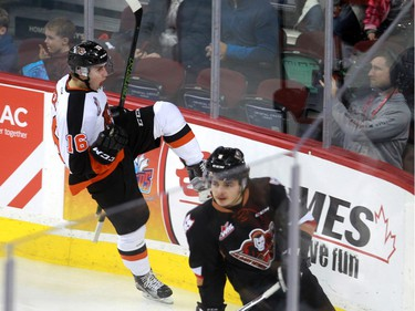 Tigers Max Gerlach celebrates a goal as the Calgary Hitmen hosted the Medicine Hat Tigers in Western Hockey League action at the Saddledome on Saturday, December 19, 2015.