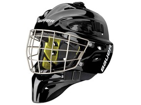 NME 10 Goal Mask with Certified Titanium Oval Wire. The Bauer mask is part of a recall in the U.S. and Canada due to facial impact or laceration hazard. Handout photo from U.S. Consumer Product Safety Commission. Dec. 23, 2015.