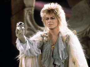 David Bowie as Jareth the goblin king in Labyrinth. See the '80s cult classic on Friday night at The Plaza Theatre.