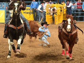 Cochrane steer wrestler Tanner Milan finished third in Wednesday's round after dropping his charge in 3.9 seconds.