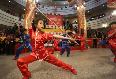 A member of the Calgary Tai Chi and Martial Arts College performs during the opening ceremonies of the 2016 Year of the Monkey Chinese New Year Carnival at the Chinese Cultural Centre.
