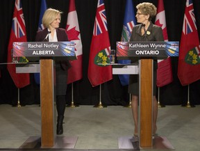 Ontario Premier Kathleen Wynne, right, and Alberta Premier Rachel Notley take part in a joint press conference following their meeting in Toronto on Jan. 22.