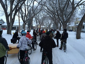 Cyclists in Saskatoon out for a winter ride.
