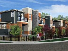 An artist's rendering of the front exterior of Madera, a new street towns project by Creations by Shane Homes in Midtown, Airdrie.