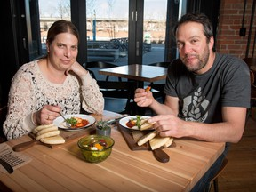 Michal Lavi, left, and Aviv Fried of Sidewalk Citizen in the Simmons Building in the East Village lunch on shakshuka.