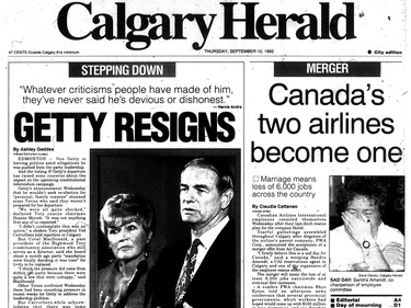 Calgary Herald front page dated September 10, 1992 -- Premier Don Getty resigns. (Scanned from microfilm)